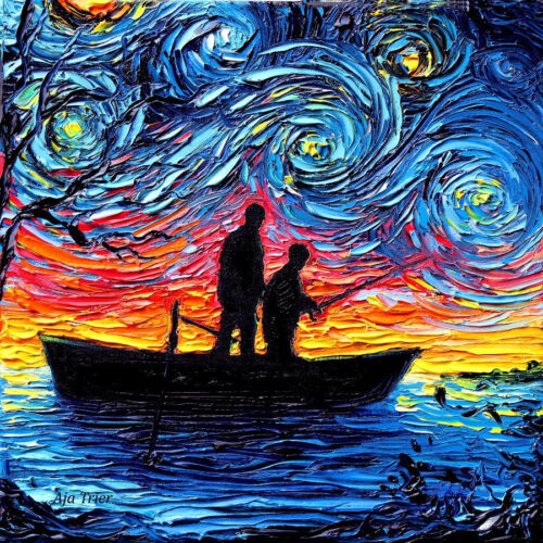 Father Son Fishing Silhouette Lake Starry Night Wall Art Print Home Decor by Aja