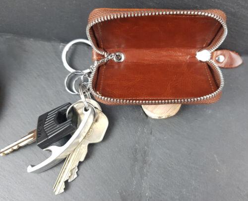 Leder Schlüsseltasche  Etui Mini-Geldbörse Rindsleder Schlüsselmäppchen