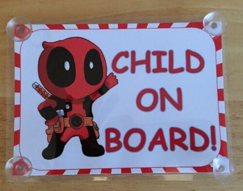 Superheroes Deadpool Child On Board Car Laminated Sign