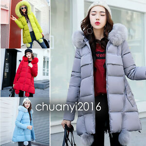 New-Winter-Women-039-s-Jacket-Long-Down-Cotton-Parka-Hairball-Fur-Collar-Hooded-Coat