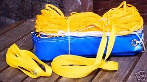Beach-Volleyball-Netz-9-5-m-x-1-m-gelb-Stahlseil-3-mm-Netzspanner-knotenlos