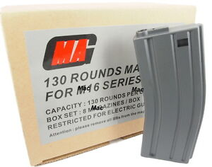 MAG (8pcs Boxset) 130round Plasctic Magazine for M Series Airsoft-Free shipping