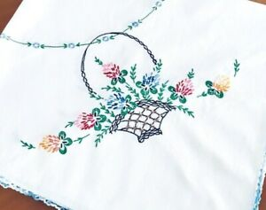 Vintage-CROSS-STITCH-TABLECLOTH-Basket-of-Flowers-Crocheted-Blue-Edges-34-034-x36-034