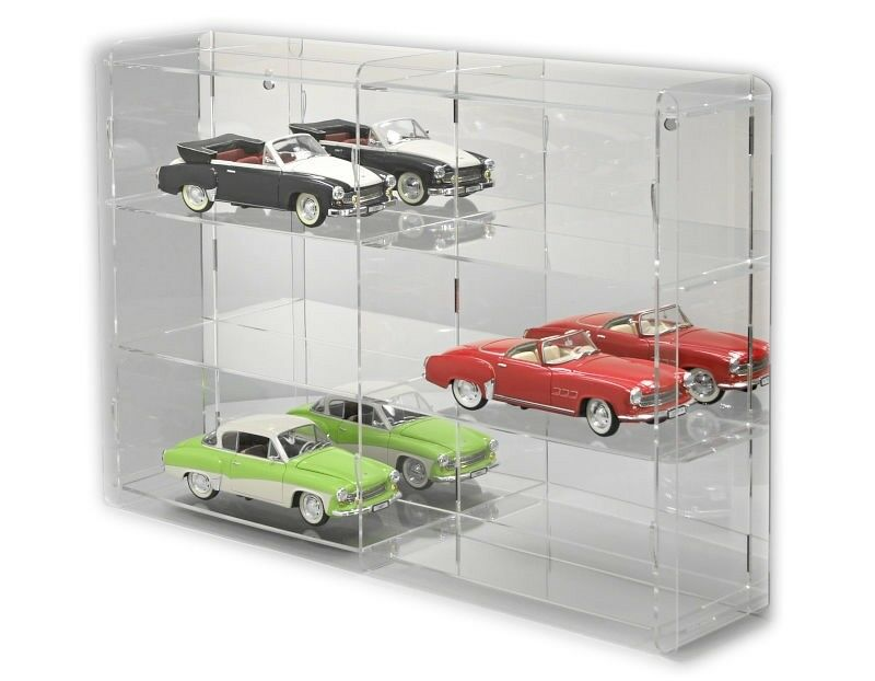 comprar barato Vitrina con Sora Coche Modelo 1 18, panel posterior posterior posterior  reflectante, para 6 coches modelo  ventas en línea de venta