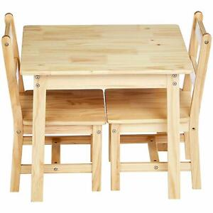 Fantastic Details About Kids Solid Natural Wood Table And 2 Chair Set Toddler Baby Gift Desk Furniture Theyellowbook Wood Chair Design Ideas Theyellowbookinfo