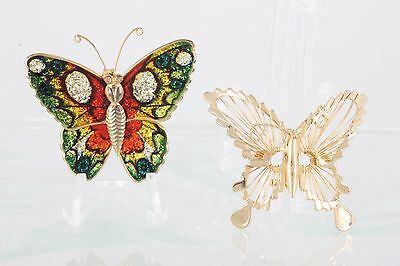 Set Of 2 Goldtone & Multi Color Butterfly Brooches Fashion 4493b Jewelry & Watches Fashion Jewelry