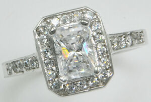 Responsible 10 Ct Canary Emerald Cut Ring Vintage Top Russian Quality Cz Extra Brilliant 8 Other Rings Fine Jewellery