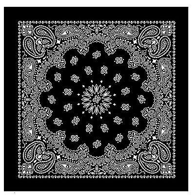 100/% Cotton Black Bandana Scarf Extra Large White Texas Paisley Headscarf square