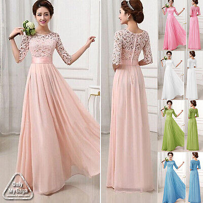 Vintage 1950s Style Chiffon Long MAXI Bridesmaid Prom Formal Lace Party Dresses