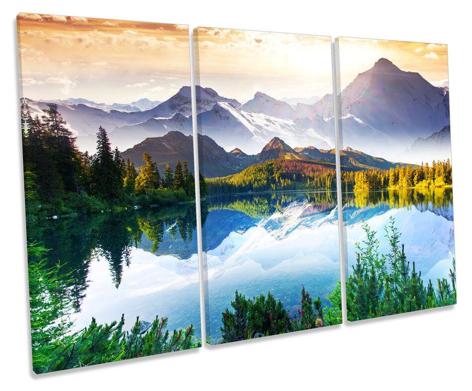 Mountain Landscape Lake CANVAS Wand Kunst TREBLE Box Frame Drucken