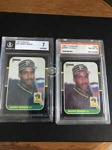 Barry-Bonds-2-card-lot-1987-Donruss-1-BGS-7-Near-MT-1-PSA-8-NM-MT-Pittsburgh