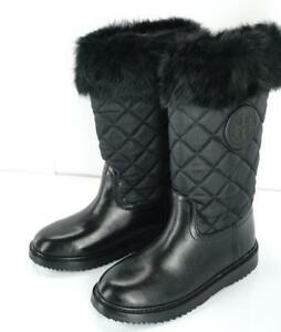 d5fc748a4cbb NEW Tory Burch JOEY Black Quilted Fur Topped Leather Winter Boots ...