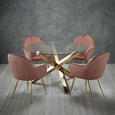 Round Glass Dining Table With Gold Legs And Four Pink Velvet