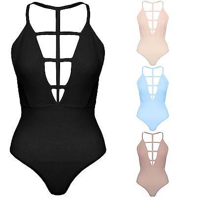 New Strappy V Neck Lattice Cut Out Bodycon Stretch Bodysuit Harness Top Vest