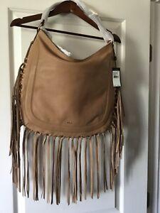 0f0452f6a2de NWT Lauren Ralph Lauren Fleetwood Leather Fringe Hobo Handbag Desert ...