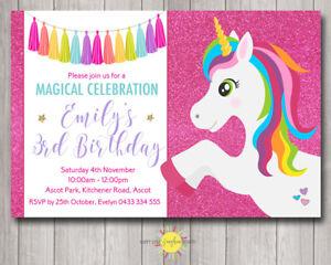 custom printable girls birthday invitation unicorn pink glitter