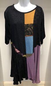 NEW-Donna-Jessica-Size-1-Asymmetrical-Dress-Black-Multicoloured-Patch-Work