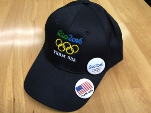 RIO 2016 OLYMPIC BLACK BASEBALL  WITH 2 FREE RIO 2016 BUTTON2 TEAM USA