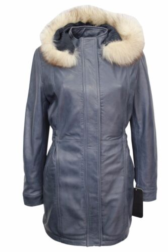 SYLVIA Ladies Blue Classic Mid Length Fur Collar 100 % Real Leather Jacket Coat