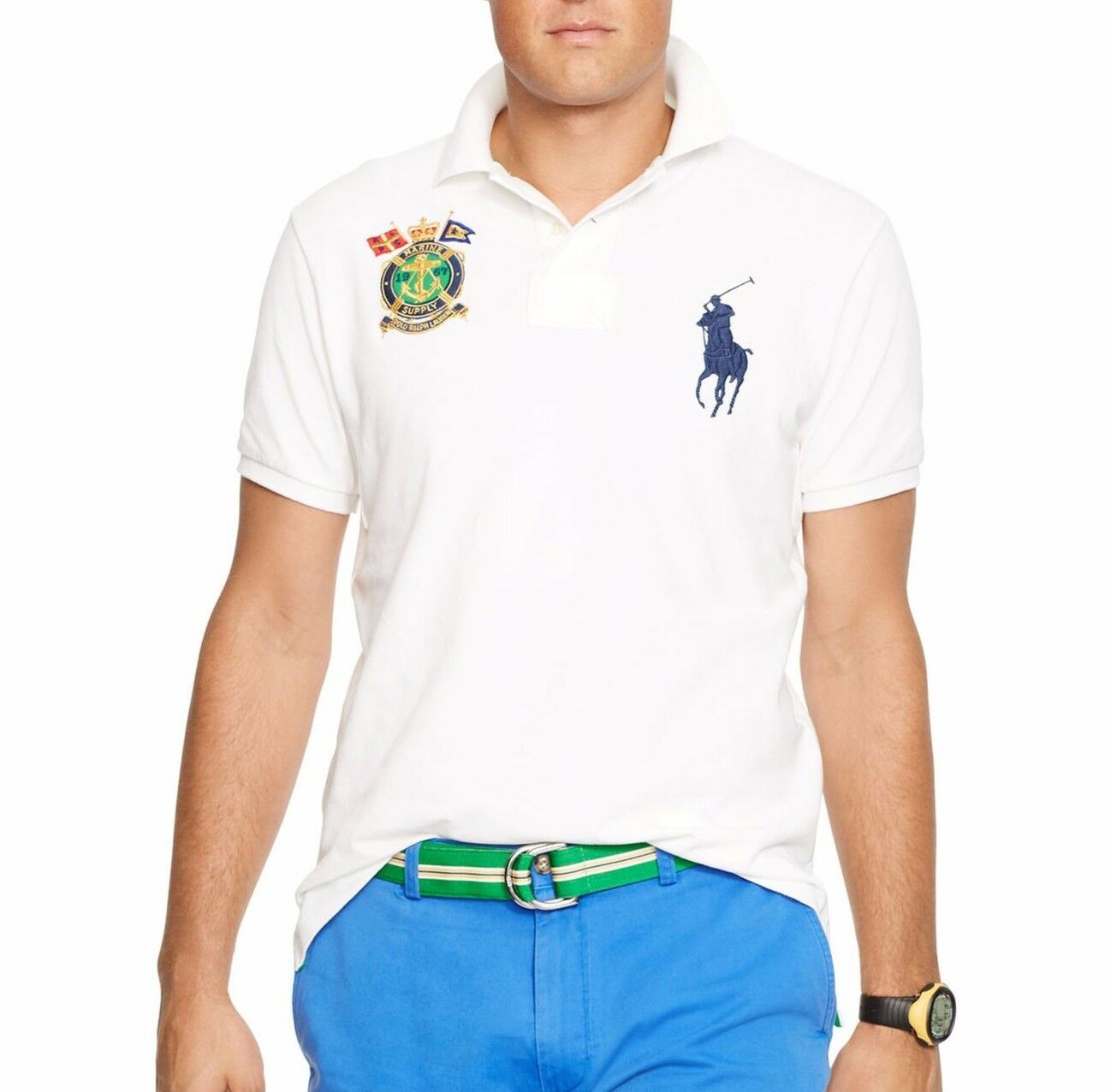 Polo Ralph Lauren Mens Short Sleeve White Nautical Crest Classic Fit Polo SK