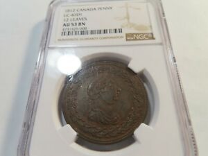 S21 Canada 1812 Penny Token 12 Leaves LC-47D1 NGC AU-53 Brown