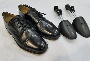 Todd-Welsh-Oxford-Black-lace-Up-Men-039-s-Dress-Shoes-7163-US-10-5-M