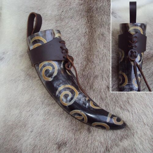 Cow Horn Viking Swirl Design Drinking Horn With Leather Holder