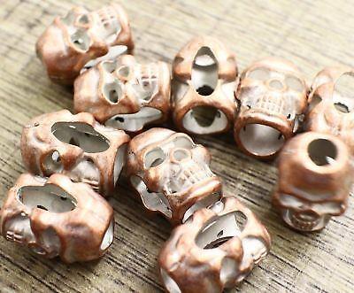 METAL BEAD Lot 5 M Bronze Skull Paracord Bracelets Crafts Leather Jewelry DIY