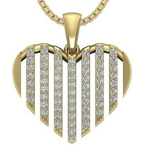 SI1-G-Heart-Pendant-Necklace-Round-Cut-Diamond-0-60-Ct-Yellow-Rose-Gold-Pave-Set