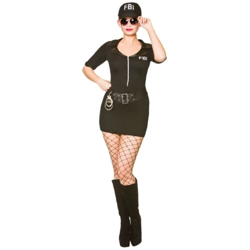Ladies FRISKY BODY INSPECTOR FBI Fancy Dress Costume UK Sizes 10-24