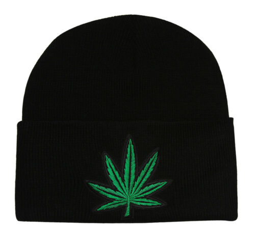 Noir Brassard Marijuana Leaf Tricot Beanie