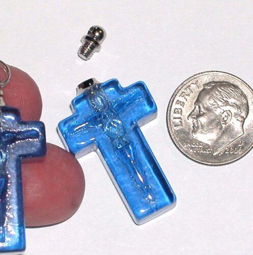 1 facet Blue Cylinder Cross vial necklace pendant small glass bottle Screw cap