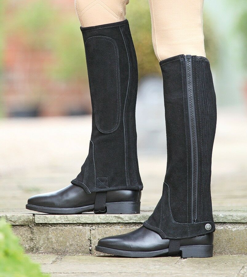 Shires Adults Suede Half Chaps braun small