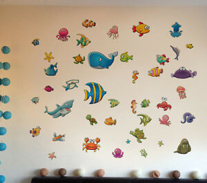Details Zu Aufkleber Kinder Karikatur Fische Badezimmer Zimmer Deko Wand Tattoo Sticker