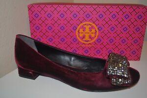 d7e57ec87cd NEW TORY BURCH Josephine Embellished Bow Pump Shoe Bordeaux Burgundy ...