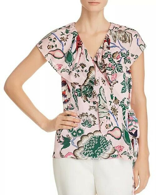NWT Tory Burch Adelia  Floral-Print Wrap Top Size 2