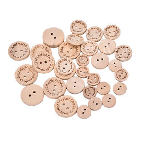 100X-Handmades-With-Love-Buttons-Scrapbooking-Sewings-Wood-Button25mm-20mm-LS
