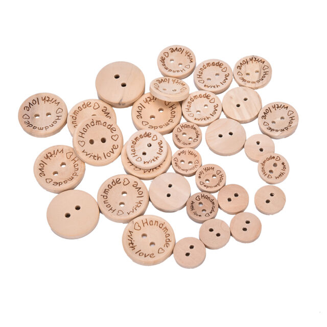 100X Handmades With Love Buttons Scrapbooking Sewings Wood Button25mm 20mm TB