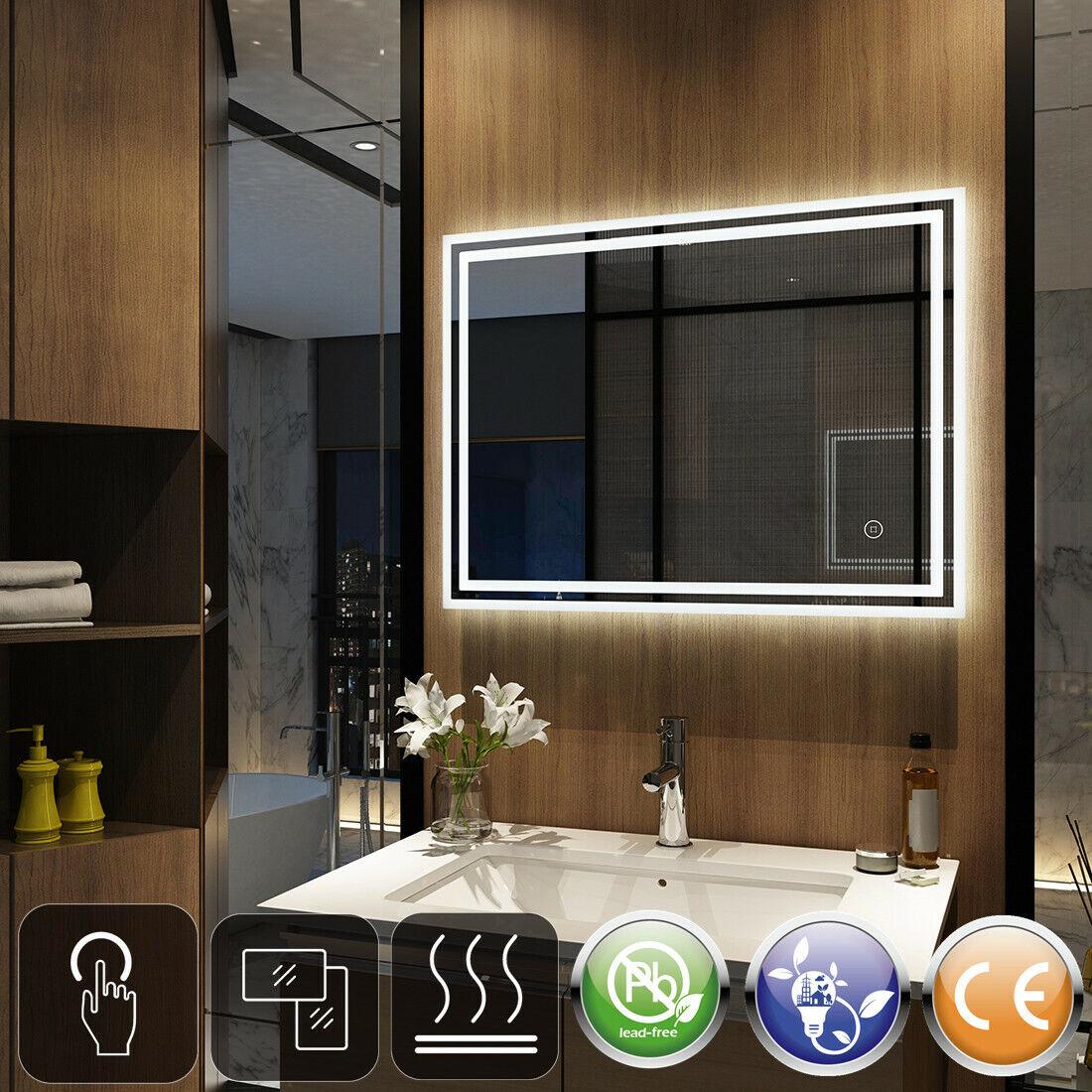 LED Badspiegel mit Beleuchtung 80x60 100x60 90x70 Touch Spiegel Lichtspiegel