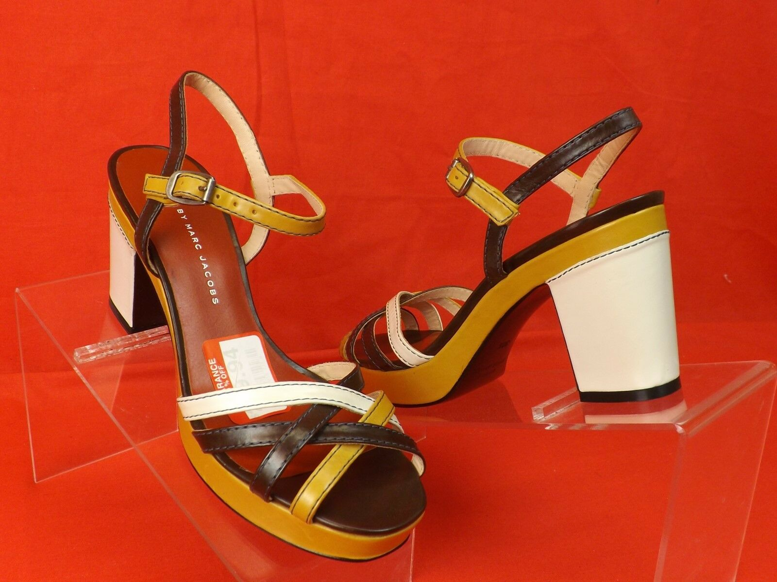NIB MARC BY MARC JACOBS COLOR BLOCK STRAPPY LEATHER PLATFORM SANDALS PUMPS 39