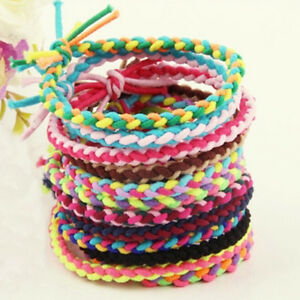 10-X-Elastic-Braided-Hair-Ties-Band-Rope-Ponytail-Holder-Women-Hair-Accessori-Fy