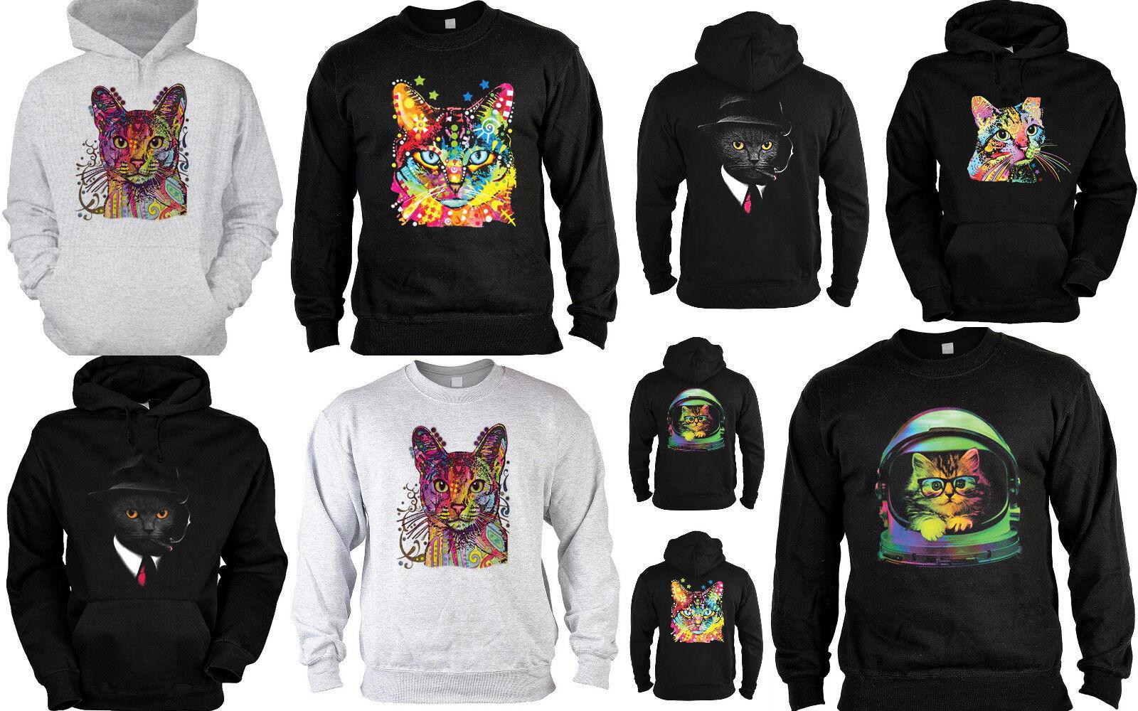 Katzen Sweater - Kapuzensweater - Zip Hoodie Katzen Neon Katze Katzenrassen bunt