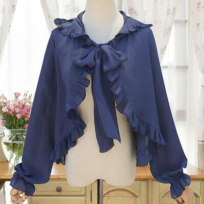 Lolita Women's Chiffon Open Stitch Blouse Shirt Long Sleeve Hoodie Chiffon Tops