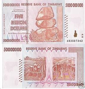 Image Is Loading Zimbabwe 5 Billion Dollars Inflation Banknote World Money
