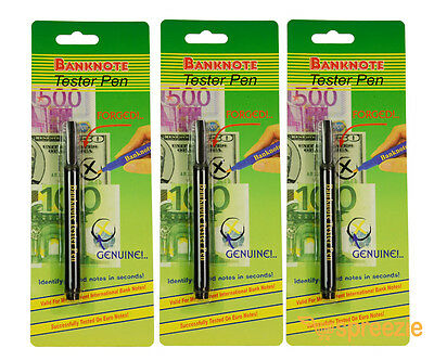 Counterfeit Money Detector Pen Marker Fake Dollar Bill Currency Check 3 Pack