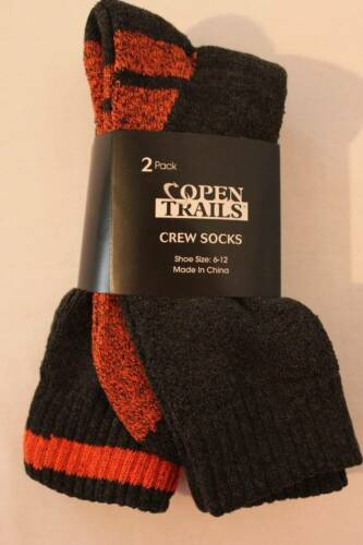 NEW Mens 2 Pair Crew Length Socks Shoe Size 6-12 Gray Orange Winter Footwear