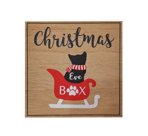 Cat Christmas Eve Treat Wooden Box