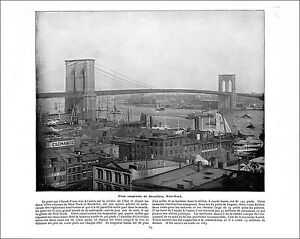 "Brooklyn bridge New York / Chapultepec Mexico MEXIQUE 1897 PRINT - France - Commentaires du vendeur : ""RECTO-VERSO"" - France"