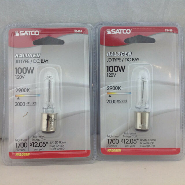 Lot of 4 Halogen JD 120V BA15D DC Double Contac Base Bulb 100W