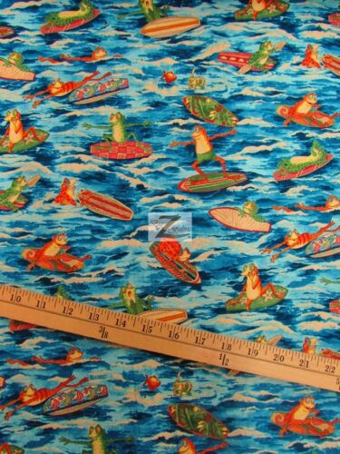 "Ribbit Surf 100/% COTTON FABRIC BY ALEXANDER HENRY 45/"" WIDTH SOLD BTY FH-790"